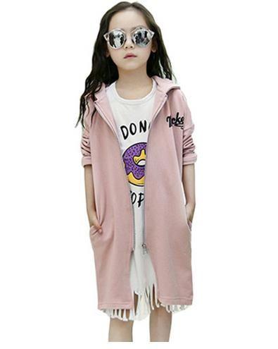 2017 Autumn Winter Girls Kids Hooded Coat Sport Long Jacket ...