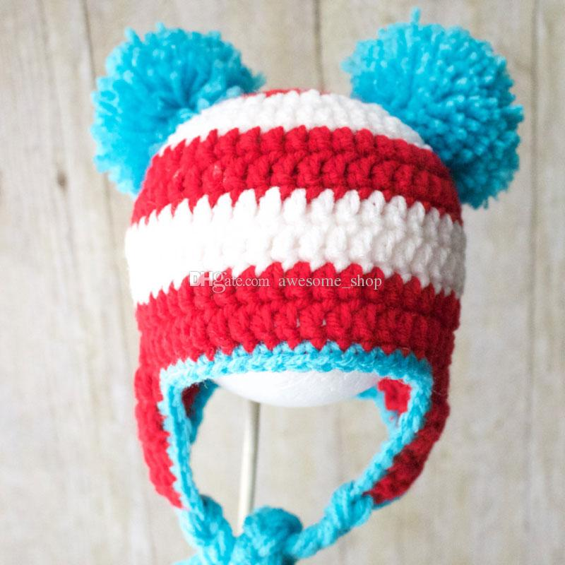 1116d62f3c6 2019 Handmade Knit Crochet Baby Boy Girl Red Blue Striped Pompom Hat ...