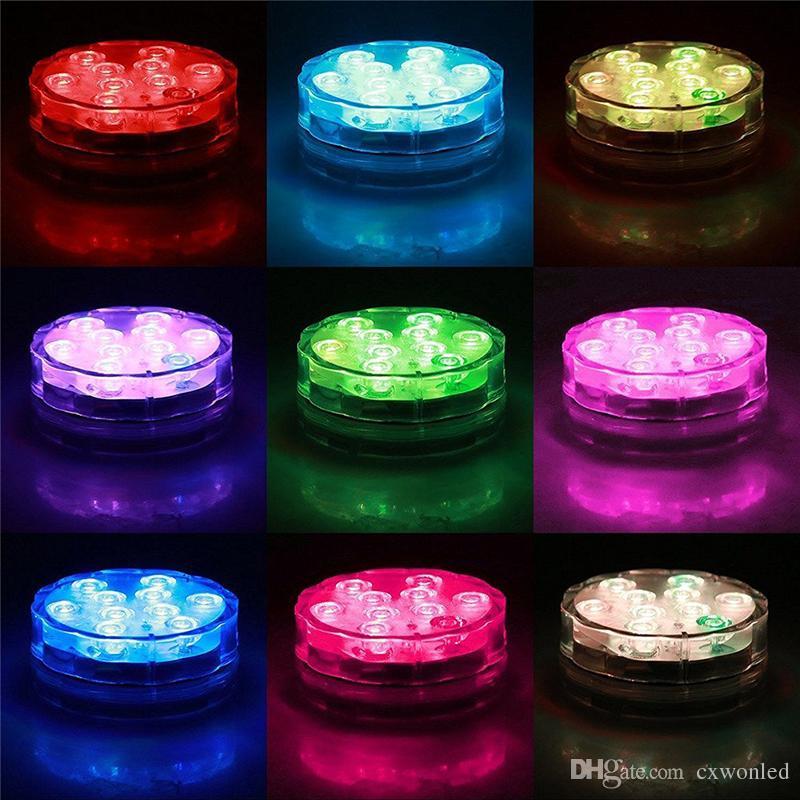 Светодиодный водонепроницаемый погружной свет 10-LED RGB высокая яркость украшения лампы подводный цвет меняется огни АА батареи С пультом дистанционного управления