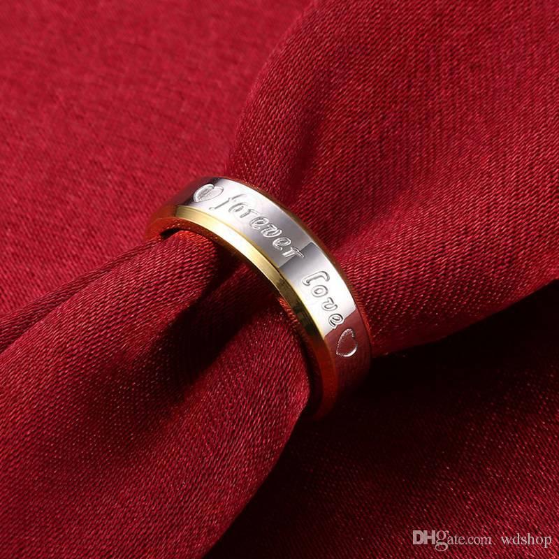 18k Gold Forever Love Ring For Men Heart Stainless Steel Ring 6MM Hip-Hop Finger Ring For Male Party Club Wear