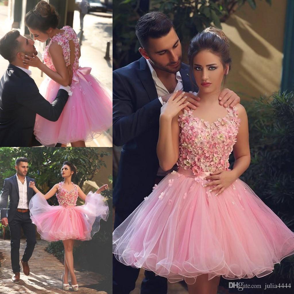 Compre Moda 3d Applique Pink Homecoming Vestidos Moldeados Espalda ...