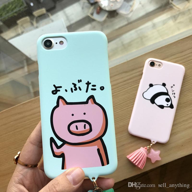 Iphone 7 Cep Telefonu Kılıfları için Karikatür Domuz Panda Hediye Saçaklı Zincir Fırçalayın Sert Telefon Kabuk Iphone 7 6 6 s Artı