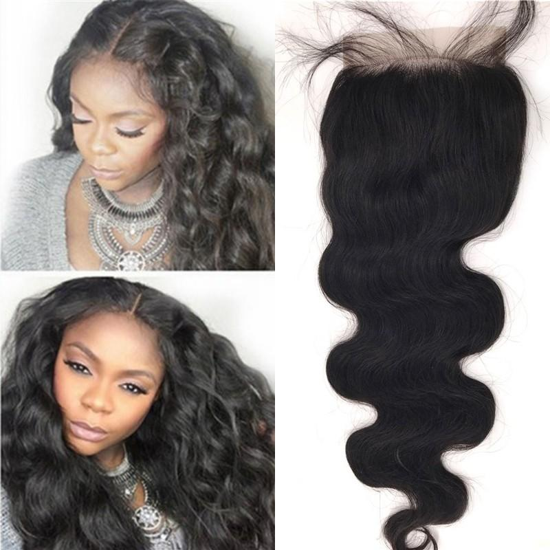 Brazilian Wavy Human Hair Top Closures Pieces with Baby Hair Peruvian Indian Mongolian Cambodian Virgin Hair Body Wave Lace Closures 5x5