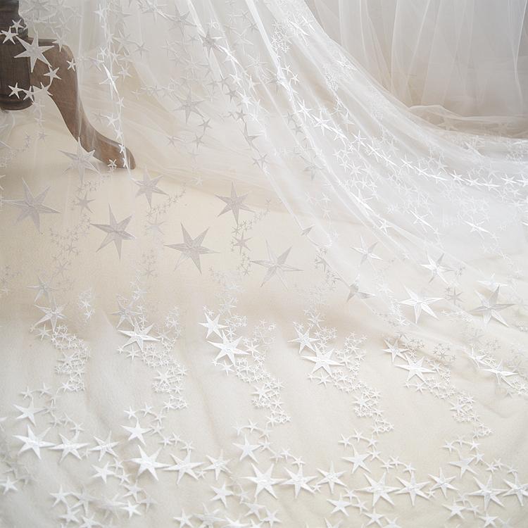 Branco rosa estrela da moda bordados tecido de renda de casamento vestido de roupas gaze materiais de decoração DIY acessórios Lace L029 tecido