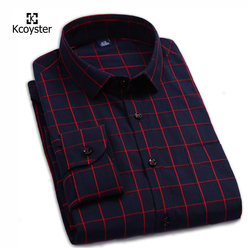 Atacado-Kcoyster Mens Janela Pane Verifique Camisa Top Quality 100% Algodão  de Manga Longa Grande Xadrez Camisas Casuais Masculina Xadrez Roupas de  Marca 9df7d767e02