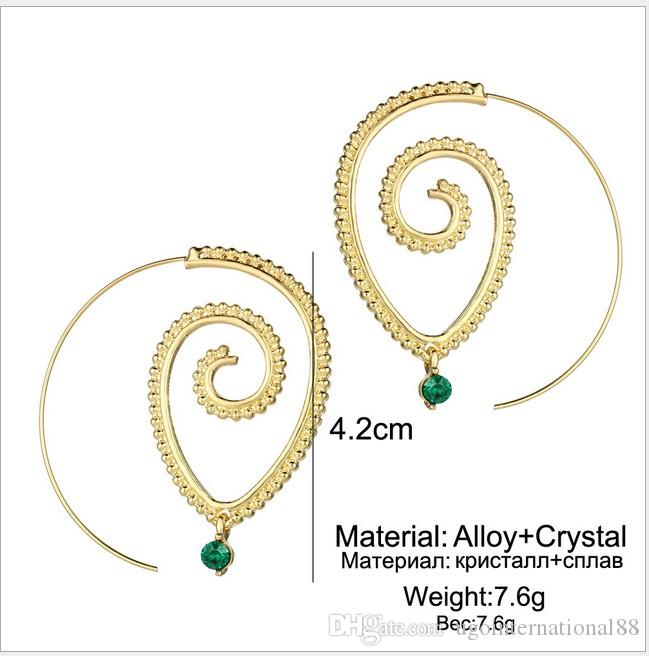 / Exaggerated Spiral Gear Shaped Turquoise Earrings Oval Green Diamond Ventage Circular Spiral Geometry Big Earrings WomenJewelry