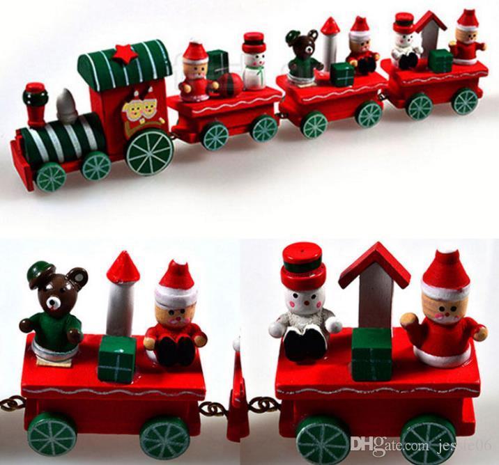 Vintage Wood Train Christmas Ornaments Santa Claus Dolls ...