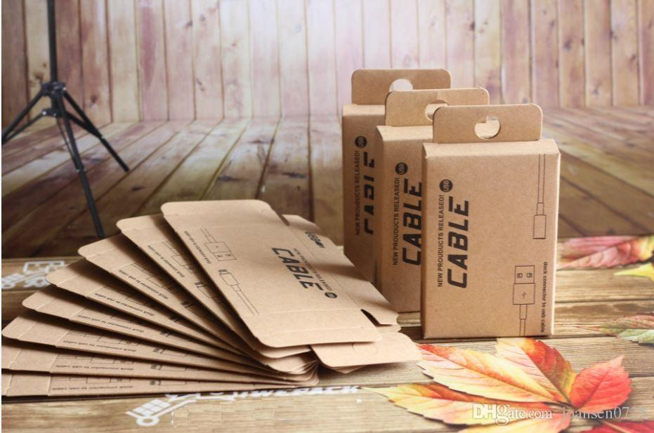Universal Kraft paper Retail Packaging empty box USB cable for iphone 6S 7 Plus Samsung Galaxy S6 S7 edge Huawei Mate 9 wholesale hot sale