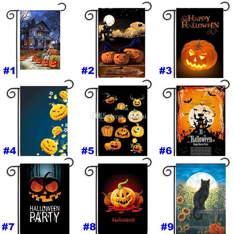 30 * 45 cm Halloween Garden Flags Pumpkin Ghost Party Home Decor Al aire libre que cuelga banderas del jardín del poliester Decoraciones de Halloween WX9-03