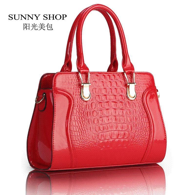 d0ee8d82fddf SUNNY SHOP Fashion Alligator Pattern Handbag Patent PU Leather ...