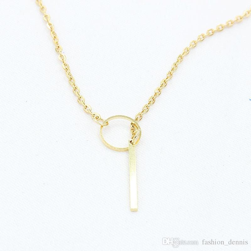 Women Minimalist chokers necklace karma Circle with bar pendant simple Gold&Silver choker Necklaces For ladies Fashion Jewelry