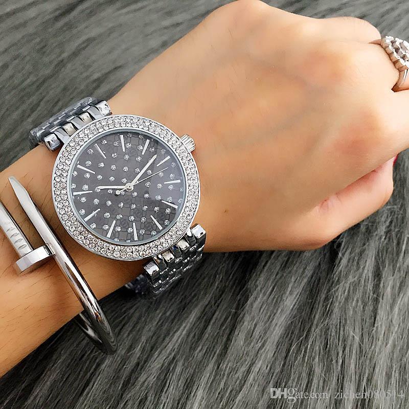 Moda M projeto Marca cristal menina das mulheres Dial Stainless Steel Band Quartz relógio de pulso M6056-3