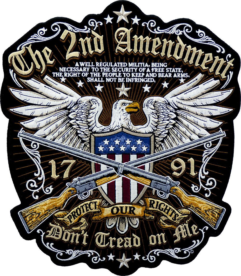 Morale Amendment Don`t Tread On Me Embroidered Iron On Patch Large Full Back Size Jacket Biker Eagle Gun Patch