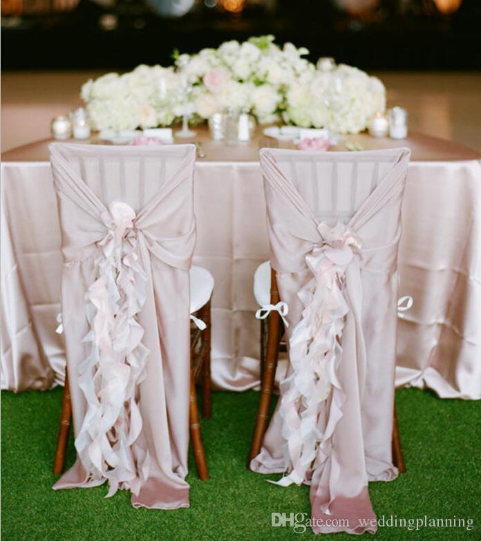 Chair chiffon 30D Sash Weddding coperture su ordine sulla vendita fornitori di cerimonia nuziale coprisedie accessori di trasporto