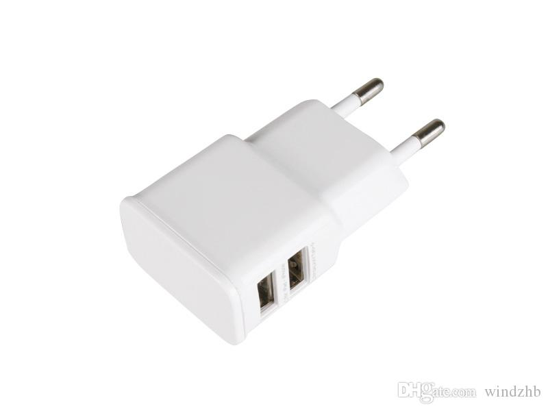 Universal Dual USB EU Plug 5V 2A Wall Travel Power Charger Adapter for iPhone 5 6 6S Plus HTC Samsung Galaxy Tabs S6 S4 Android Smart Phones