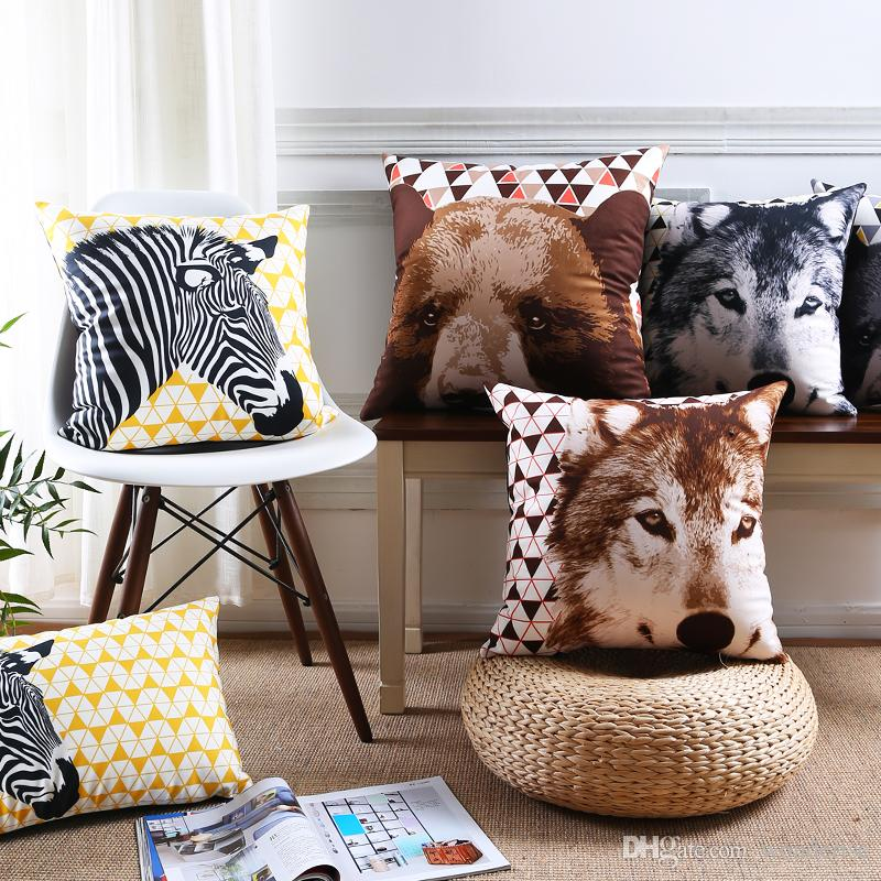 Animals Zebra Wolf Bear Deer Elk Stag Cushion Covers Nordic Geometric  Triangles Art Pillow Cover Decorative Velvet Pillow Case For Car Sofa Patio  Cushion ...