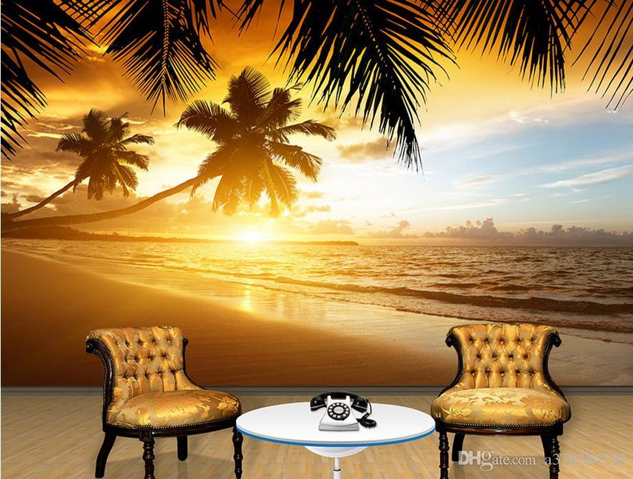 High Quality Custom 3d Photo Wallpaper Murals Wall Paper Sunset Coconut  Beach Scenery Murals Tv Background Wall Decor Room Wallpaper Animated  Wallpapers ... Part 49