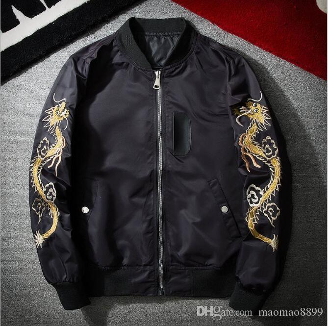 Japanese Style Embroidered Baseball Jacket Men And Women Pilots ...