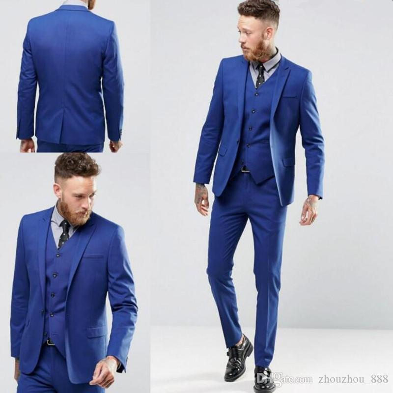 2018 Latest Design Blue Men Suits One Button Groom Tuxedos Wedding ...