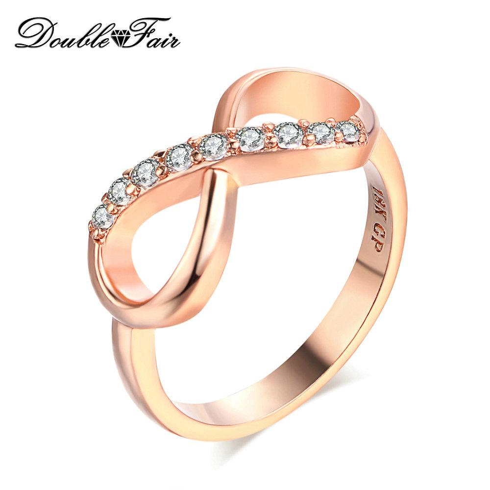 8e2376c8945c7 Simple Elegant Rose Gold Plated Rings CZ Diamond Fashion Jewelry For Women  & Girls Gift Wholesale DFR407