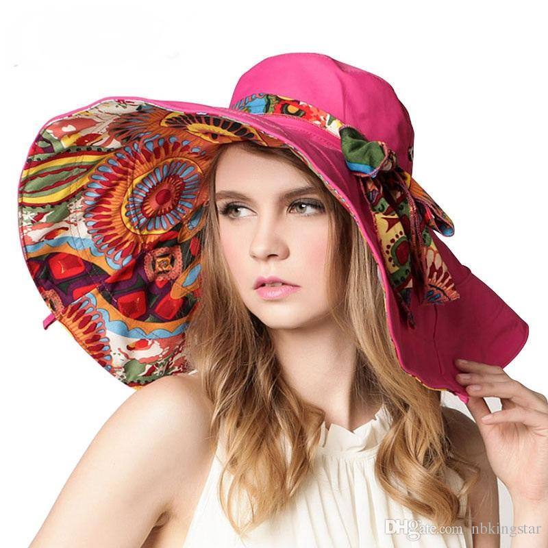 c607bd8ac0fb7 Women s Foldable Floppy Reversible Sunhat Wide Large Brim Cap Summer Beach  Floral Two Sides Hat UV Protection
