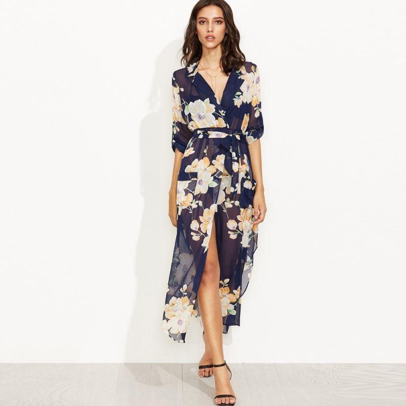b8c6154ac3 Compre Fenda Design Flor Imprimir Maxi Vestido Venda Quente De Verão  Vestidos Casuais De Ifashionshop