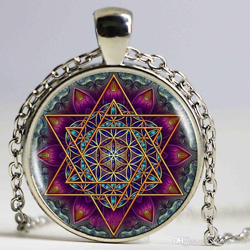 Flor da vida tibetana da mandala do OM Colar Grey Om jóias Meditação Budismo Vintage Jóias de vidro Dome Pendant Antique Bronze Mulheres
