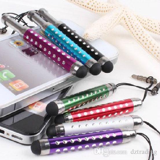 Flexible Diamond Capacitive Stylus Touch Pen With Anti-Dust Plug For IPhone Sansung HTC Nokia IPad Tablet PC