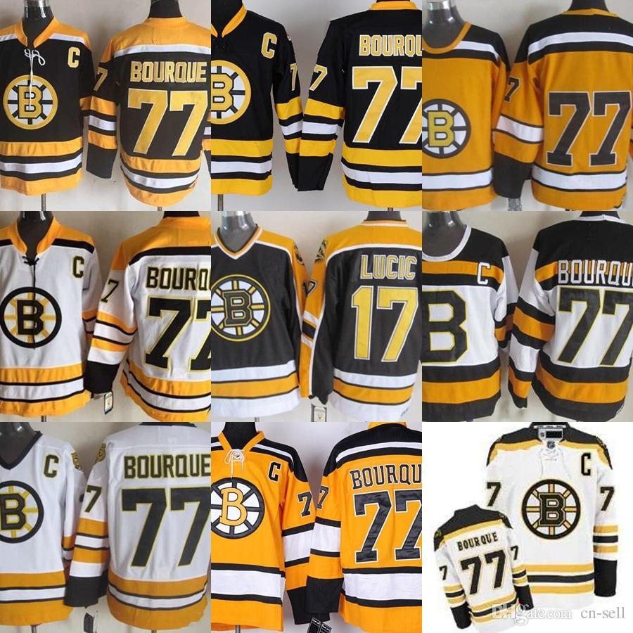 8636bc301 ... 2017 Cheap Mens Boston Bruins 77 Ray Bourque Ice Hockey Jerseys Black  White Yellow With C ...
