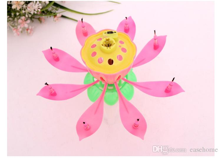 2018 Lotus Flower Candle For Birthday Party With Music Candle