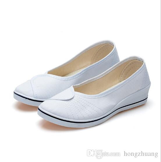 b858cff67ec 2018 New Fashion Casual Women Work Shoes Women Loafers White And Black  Wedges Soft Bottom Canvas Shoes 35 40 Nurse Shoes Mens Boat Shoes Boat  Shoes For Men ...