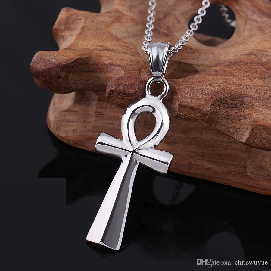 ciondoli classici argento gioielli egiziani ciondolo in acciaio inox catena gli uomini chiave la vita in Egitto croce Vintage MP75