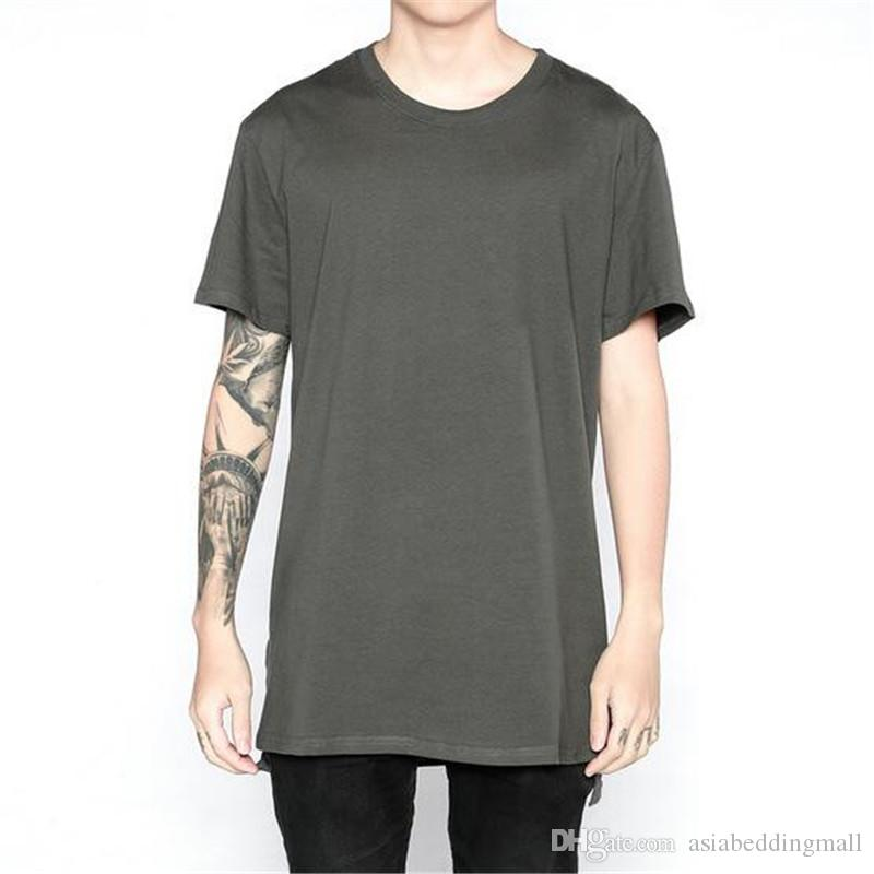 585dc2e014f Basic Cotton Short Sleeve T Shirt Men Solid Black White Grey Extend Long Tee  Shirt Casual Loose Baggy Style Justin Bieber Tees Funniest T Shirt Comical T  ...