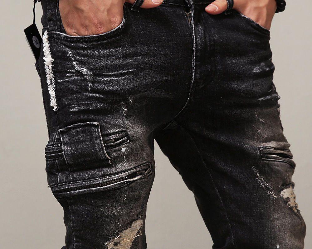 2017 Erkekler Kot Pist Biker Sıska Ince Kot Pantolon Kovboy Marka Fermuar Pantolon Yırtık Jean Sıcak Satış Tasarımcı Adam Streç Kot.
