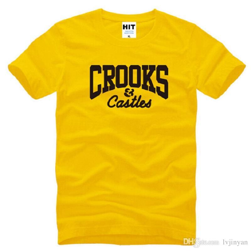 Nuevo Diseñador Crooks And Castles Camisetas Hombres Algodón de manga corta Carta Impreso Hip Hop Camiseta de Hombre Camisetas Homme S-3XL