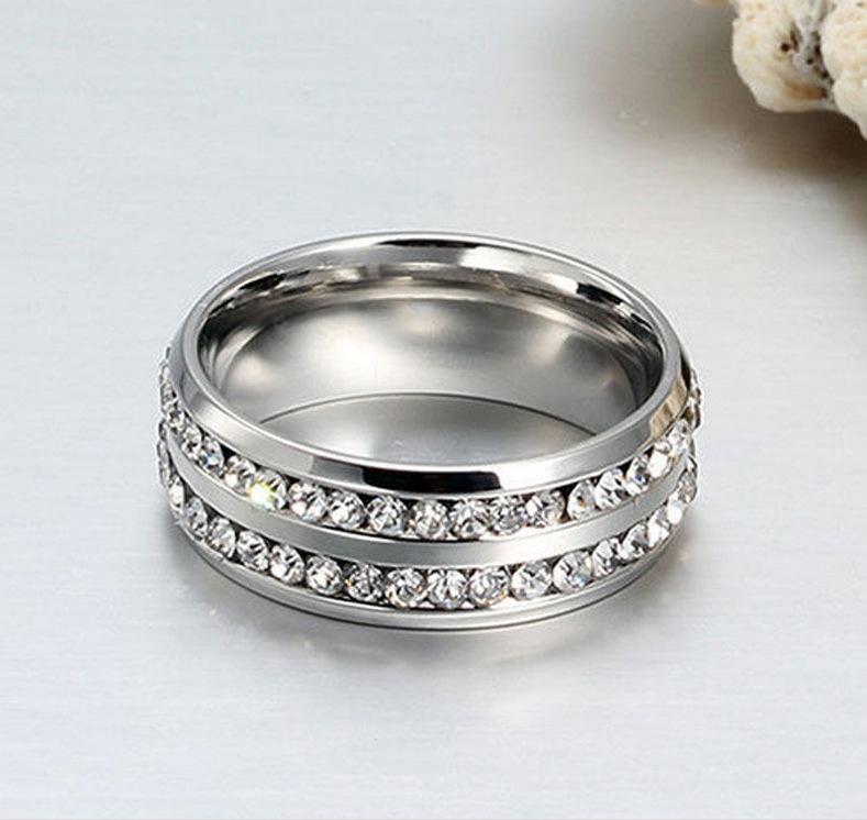 Fashion Gold-Silber überzogener Edelstahl zwei Reihen Swarovski Kristall-Ringe für Männer Frauen Lovers' Finger-Ring-Mann-Ring Hochzeit Schmuck