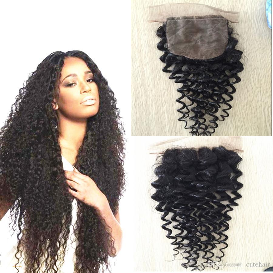 глубоко вьющиеся Малайзии волос Шелковый закрытие 8а необработанные девственные волосы с закрытием Малайзии вьющиеся волосы глубокая волна вьющиеся шелк база закрытие