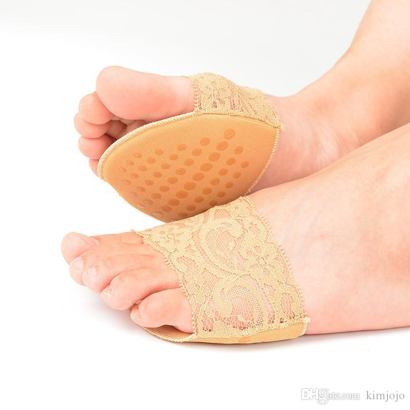 Lace Design Anti-slip High Heels Cushion Protector Feet Care Forefoot Pad Insoles Invisible Half Yard Pad