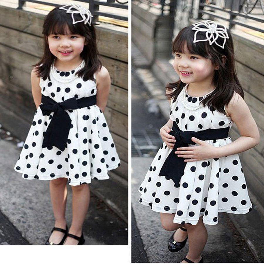7300440b3 2019 Summer Polka Dot Girls Dress Fashion Sleeveless Kids Dress For ...