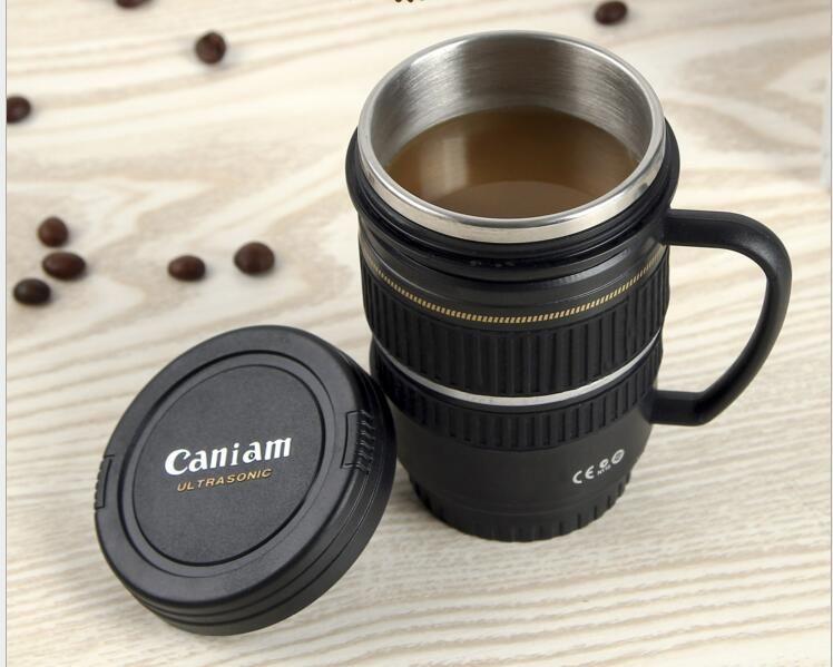 Heißer verkauf mode liebhaber kreative linse becher griff schwarz und weiß edelstahl kamera kaffeetassen großhandel