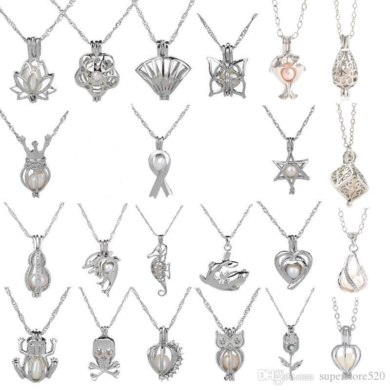 18kgp Fashion love wish pearl/ gem beads locket cages Pendants, DIY Pearl Necklace charm pendants mountings