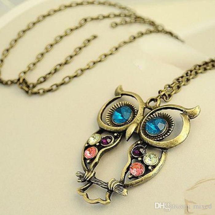 Мода Леди Кристалл Сова Ожерелье Старинные Длинные Цепи Ожерелье Женщины Животных Бижутерия Ожерелья Подарок