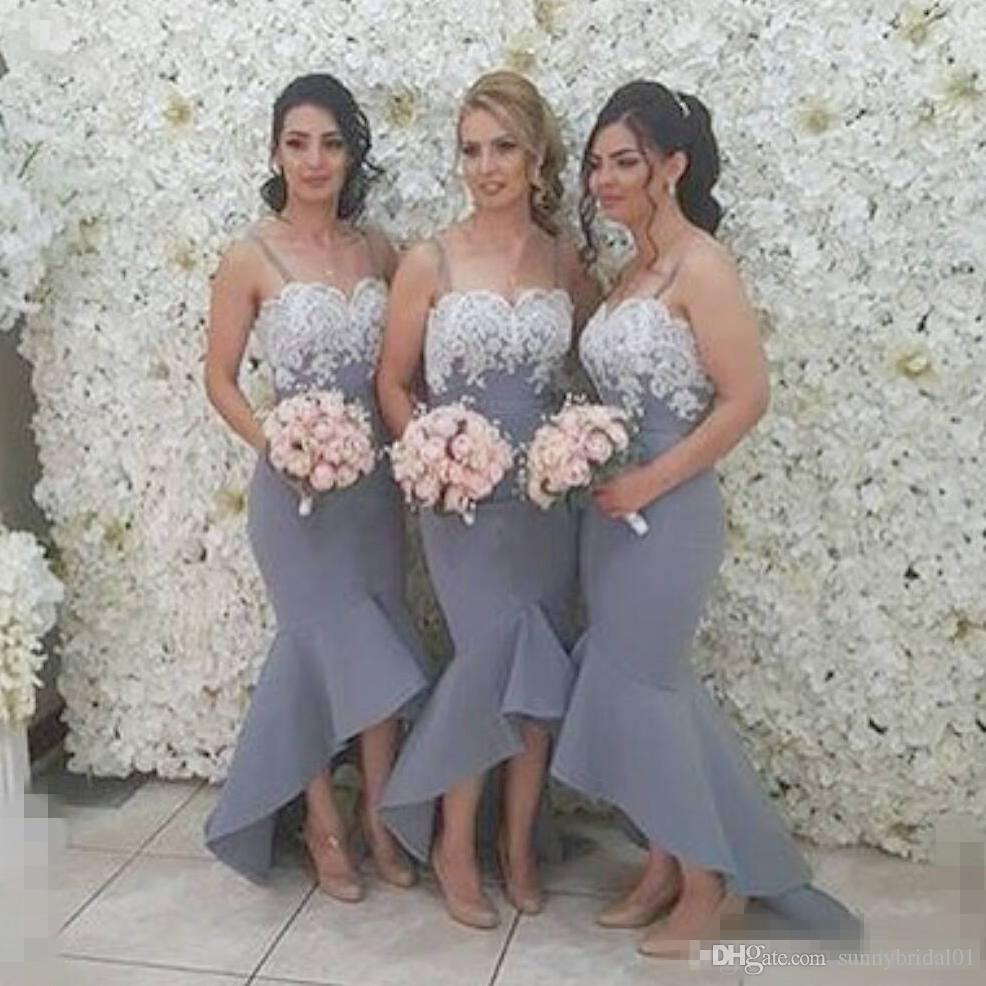 2017 Grey Lace Bridesmaid Dresses Junior Mermaid Prom Gowns Spaghetti Straps Long Beach Summer Formal Wedding Party Dresses Girls Cheap