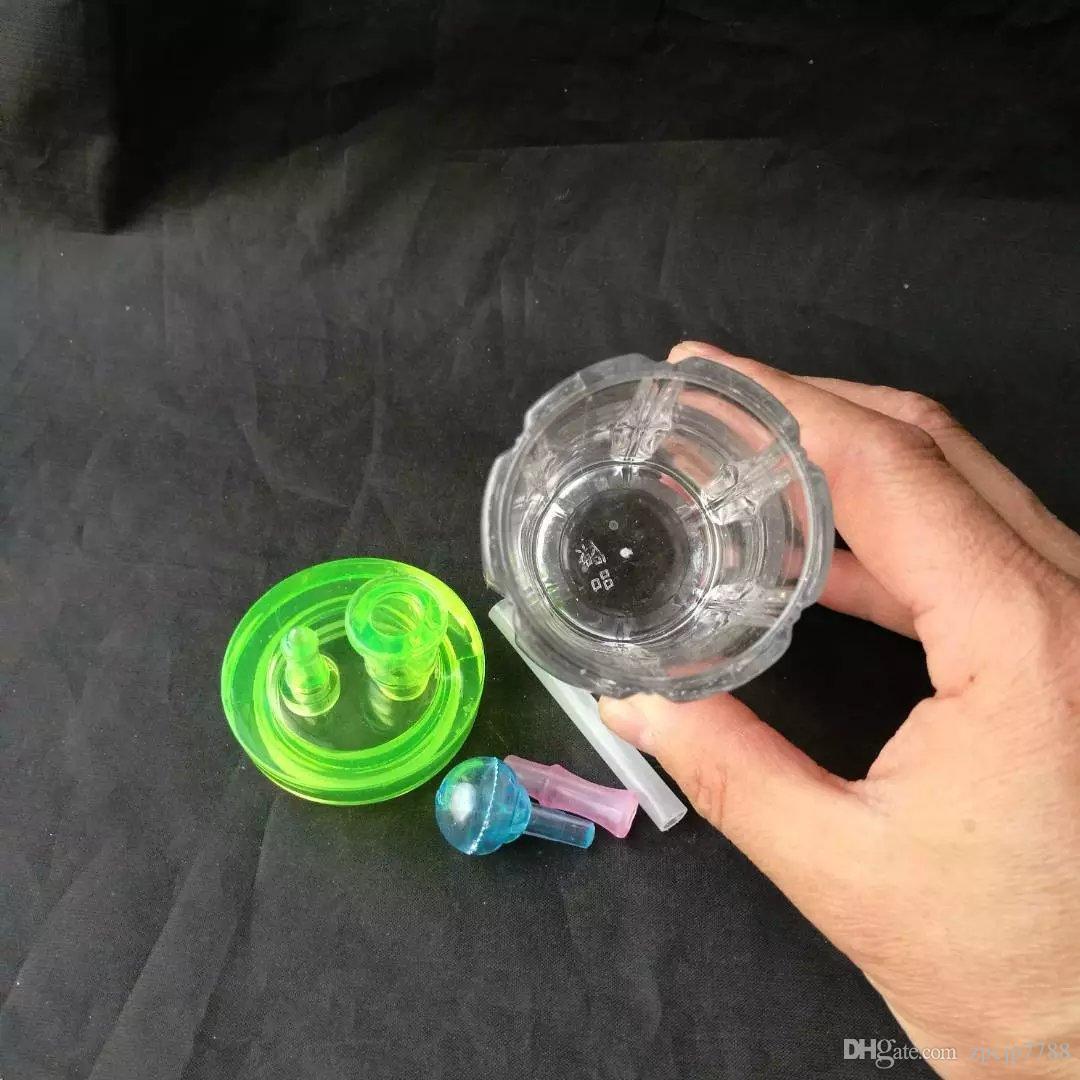 Ribs accessoires de bongs de narguilé, Unique Brûleur à mazout Bongs en verre Pipes Pipes à eau en verre Pipe à huile Rigs fumer avec compte-gouttes