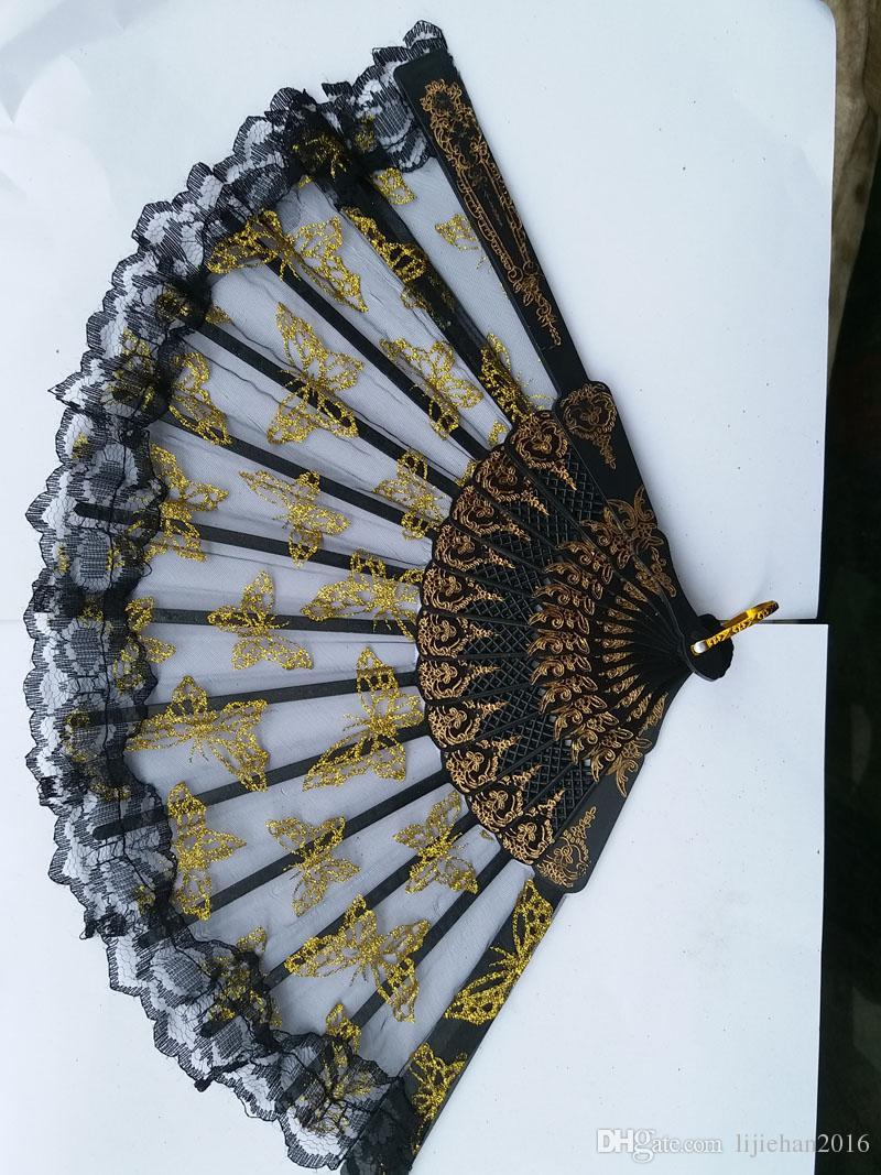 Dobrável de mão realizada de plástico de seda borboleta fãs em massa para as mulheres - Espanhol / chinês / japonês estilo palácio restaurar antigas formas de 9.0