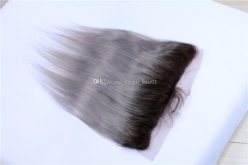 #1b Grey Two Tone Hair Bundles With Lace Frontal Silk Striaght Sliver Grey Ombre Lace Frontal With Bundles Gray Straight Hair Weaves