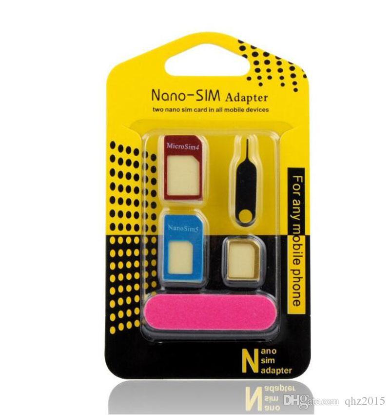 5 in 1 Nano Sim Card Adapters + Regular & Micro Sim + Standard SIM Card & Tools For iPhone 4s 5s 6 6s Retail Box