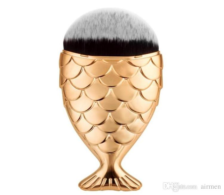 2017 Nuevo Cepillo de Maquillaje de Escama de Pescado Cepillo Inferior de Cola de Pescado Polvo Blush Maquillaje Pinceles Cosméticos Herramienta DHL gratis
