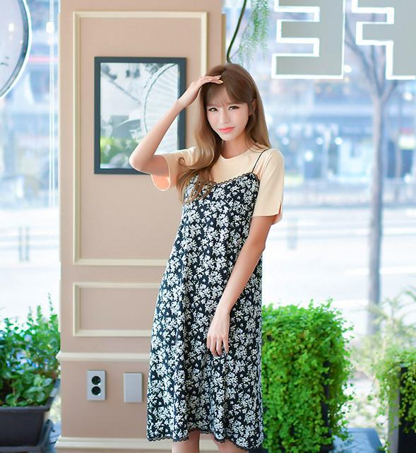 Europe the United States in the new long paragraph floral skirt short sleeve T-shirt two-piece dress beach dress