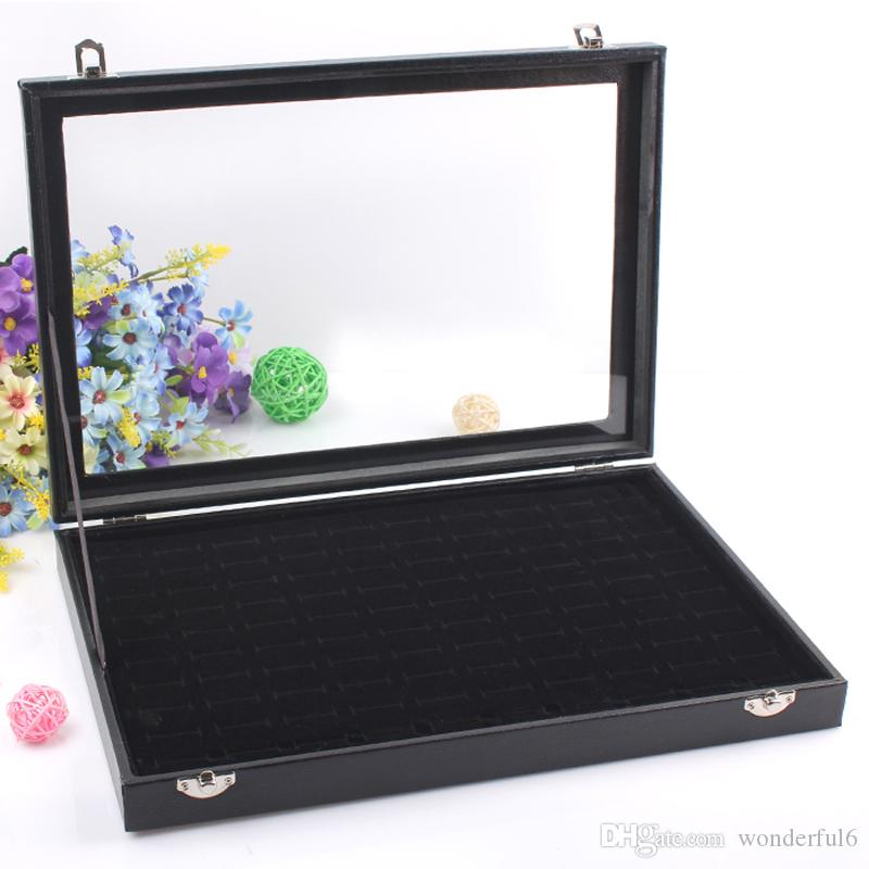 High-end Black 100 Grids Ring Box Jewelry Storage Case Earring Display Jewelry Accessories Showcase Decoration With Glass Cover